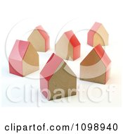 3d Red Wooden Block Houses