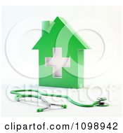 Clipart 3d Green Medical Cross House And Stethoscope Royalty Free CGI Illustration