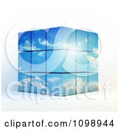 Clipart 3d Stacked Cubes Of Sunshine And Blue Cloudy Sky Royalty Free CGI Illustration by Mopic