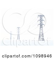 3d Power Transmission Tower Pylons And Lines