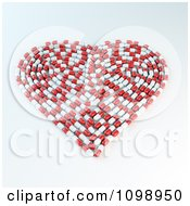 Clipart 3d Heart Formed With Red And White Pill Capsules Royalty Free CGI Illustration by Mopic