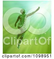 3d Leafy Mother Nature Woman Reaching Over Green Rays