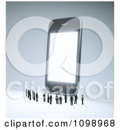 Clipart 3d Tiny People Pointing And Looking Up At A Giant Cell Phone Royalty Free CGI Illustration