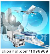 Clipart 3d Big Rig Truck Train And Airplane Leaving A City Royalty Free Vector Illustration by AtStockIllustration