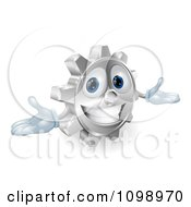 Clipart 3d Smiling Gear Cog With Open Arms Royalty Free Vector Illustration