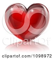 Clipart 3d Red Sparkly Heart And Reflection Royalty Free Vector Illustration by AtStockIllustration