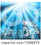 Clipart 3d Icy Snowflakes In Blue Rays Of Light Royalty Free Vector Illustration by AtStockIllustration