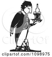 Clipart Needy Man On A Giant Penguin Butlers Feet Black And White Woodcut Royalty Free Vector Illustration