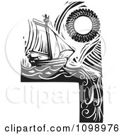 Sailing Ship And Sun Around A Blank Sign Black And White Woodcut