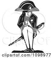 Clipart Napoleon Bonaparte Standing With His Hand In His Jacket Black And White Woodcut Royalty Free Vector Illustration by xunantunich