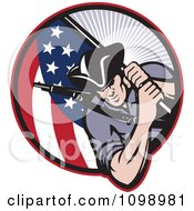 Clipart Retro American Revolutionary Soldier Patriot Minuteman Carrying A Flag Royalty Free Vector Illustration