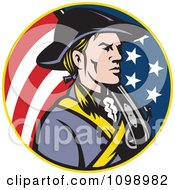 Clipart Retro American Revolutionary Soldier Patriot Minuteman In A Circle Of Stars And Stripes Royalty Free Vector Illustration