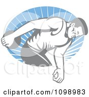 Clipart Faded Retro Male Athlete Throwing A Discus Over Blue Rays Royalty Free Vector Illustration