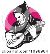 Clipart Retro Hooded Man Playing A Banjo Over A Pink Circle Royalty Free Vector Illustration by patrimonio