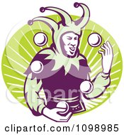Clipart Retro Jester Juggling Balls Over A Green Oval Of Rays Royalty Free Vector Illustration
