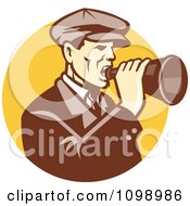 Clipart Retro Man Shouting Into A Bullhorn Over A Yellow Circle Royalty Free Vector Illustration