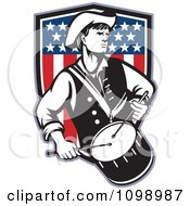 Clipart Retro American Revolutionary War Soldier Patriot Minuteman Drummer With A Shield Of Stars And Stripes Royalty Free Vector Illustration by patrimonio #COLLC1098987-0113