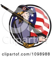 Clipart Retro American Revolutionary War Soldier Patriot Minuteman With A Rifle In A Circle Of Stars And Stripes Royalty Free Vector Illustration