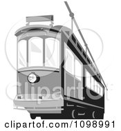 Clipart Retro Grayscale Cable Street Car Tram 2 Royalty Free Vector Illustration