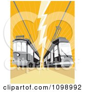Clipart Retro Cable Street Car Trams With An Electrical Bolt On Orange Royalty Free Vector Illustration