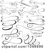 Clipart Black Swirl Scribbles And Design Elements Royalty Free Vector Illustration by dero