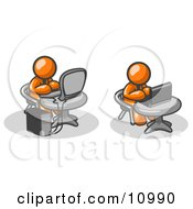 Two Orange Men Employees Working On Computers In An Office One Using A Desktop The Other Using A Laptop Clipart Illustration by Leo Blanchette