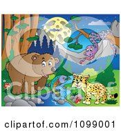 Clipart Bear Fish Wildcat And Snake By A Stream At Night Royalty Free Vector Illustration