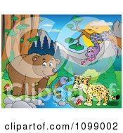 Clipart Bear Fish Wildcat And Snake By A Stream During The Day Royalty Free Vector Illustration