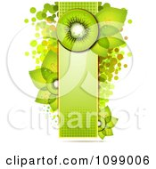 Clipart Background Of Kiwi Slices And Leaves On A Green Halftone Banner Over Circles Royalty Free Vector Illustration by merlinul
