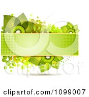 Clipart Background Of Kiwi Slices And Leaves On A Green Halftone Banner Over Dots Royalty Free Vector Illustration by merlinul