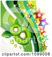Background Of Kiwi Slices With Colorful Stars And Green Waves