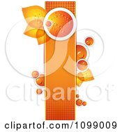 Clipart Background Of A Dewy Orange And Leaves On A Halftone Banner 1 Royalty Free Vector Illustration by merlinul