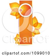 Clipart Background Of A Dewy Orange And Leaves On A Halftone Banner 2 Royalty Free Vector Illustration by merlinul