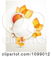 Clipart Background Of Dewy Orange Circles And Leaves Around A Frame With Gray Halftone Royalty Free Vector Illustration by merlinul
