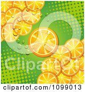 Clipart Background Of Orange Slices Over Green Halftone Royalty Free Vector Illustration by merlinul