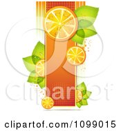 Clipart Background Of Orange Slices On A Halftone Banner With Leaves Royalty Free Vector Illustration by merlinul