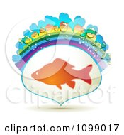 Clipart Fish In A Frame With A Rainbow And Dew Drops Royalty Free Vector Illustration