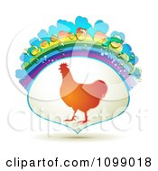 Clipart Barnyard Chicken In A Frame With A Rainbow And Dew Drops Royalty Free Vector Illustration