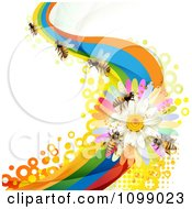 Clipart Background Of Honey Bees On A Daisy Rainbow Wave Royalty Free Vector Illustration by merlinul