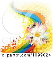 Clipart Background Of Honey Bees On A Daisy Rainbow Wave With Honeycombs Royalty Free Vector Illustration by merlinul
