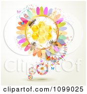 Clipart Background Of Bees On A Colorful Honey Comb Flower Royalty Free Vector Illustration by merlinul