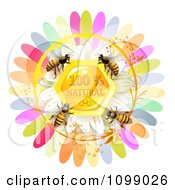 Clipart Group Of Honey Bees Over A Natural Honeycomb With Daisy And Colorful Petals Royalty Free Vector Illustration by merlinul
