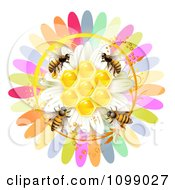 Clipart Honeycombs In The Center Of A Colorful Flower With Bees Royalty Free Vector Illustration by merlinul