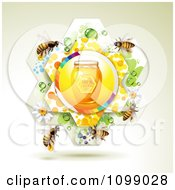 Clipart Jar Of Natural Honey In A Flower And Bees Royalty Free Vector Illustration by merlinul