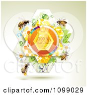 Clipart Natural Honey In A Flower With Bees Royalty Free Vector Illustration by merlinul