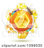 Clipart Natural Honey Comb And A Bee Over A Flower Royalty Free Vector Illustration by merlinul