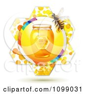 Clipart Jar Of Natural Honey And A Bee Over A Flowe Royalty Free Vector Illustration by merlinul