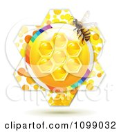 Clipart Bee Over Honeycombs In The Center Of A Flower Royalty Free Vector Illustration by merlinul