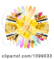 Clipart Natural Honeycomb In The Center Of A Ribbon And Petal Flower With Bees Royalty Free Vector Illustration by merlinul