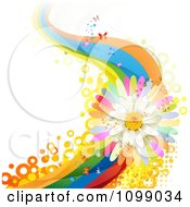 Clipart Background Of A White Daisy And Rainbow Wave With Butterflies And Circles Royalty Free Vector Illustration by merlinul